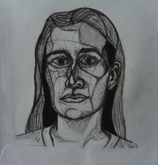 Esther H., portrait, drawing, charcoal on envelope, Matthias Fitzi